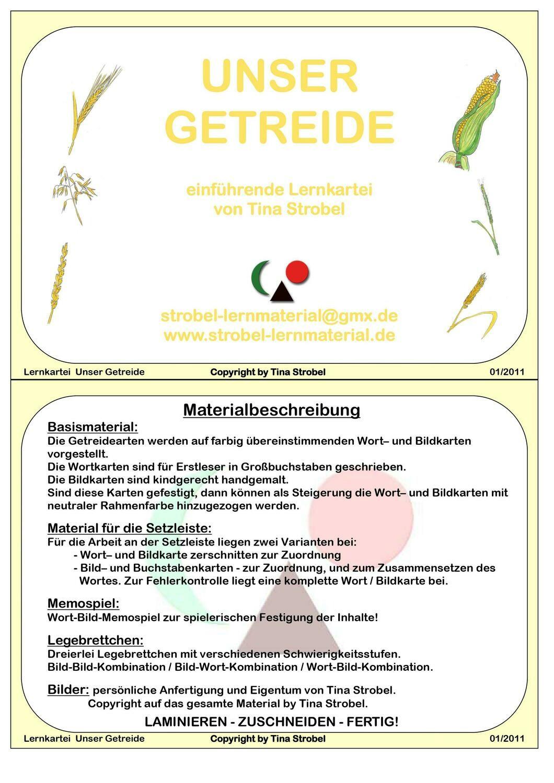 Unser Getreide Lernkartei - einführend