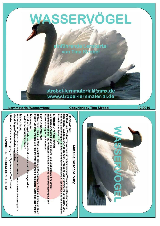 Wasservögel Lernkartei - einführend