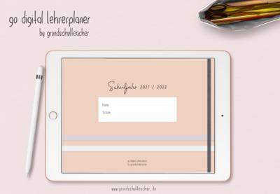 go digital Lehrerplaner 21/22 - 10 Schulstunden peach