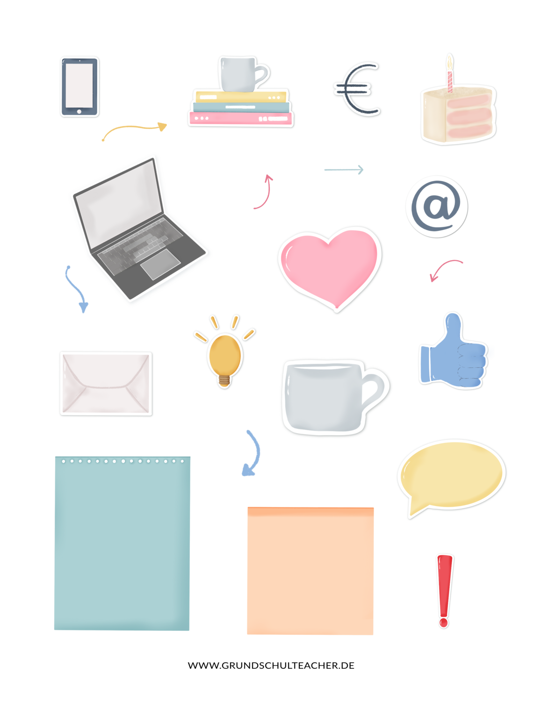 Sticker go digital Lehrerplaner Icons und Wörter