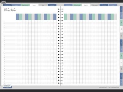 Notenliste für den go digital Lehrerplaner -  blau
