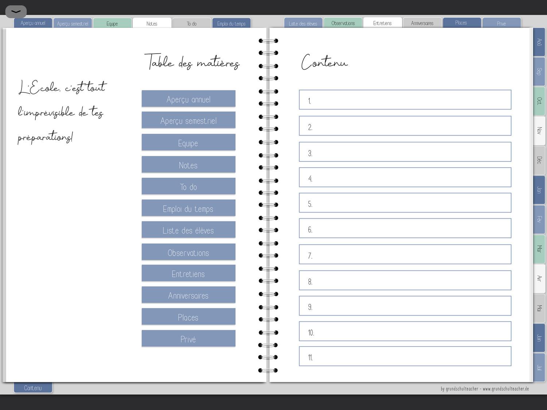 Teacher planner numérique - en français 21 / 22