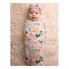 Swaddle Cocoon & Hat Set - Peach Floral