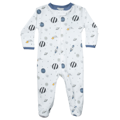Blue Universe Zipper Footie 6-9 month