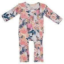 Dusk Rose 3-6 mos Ruffled Zippered one-piece