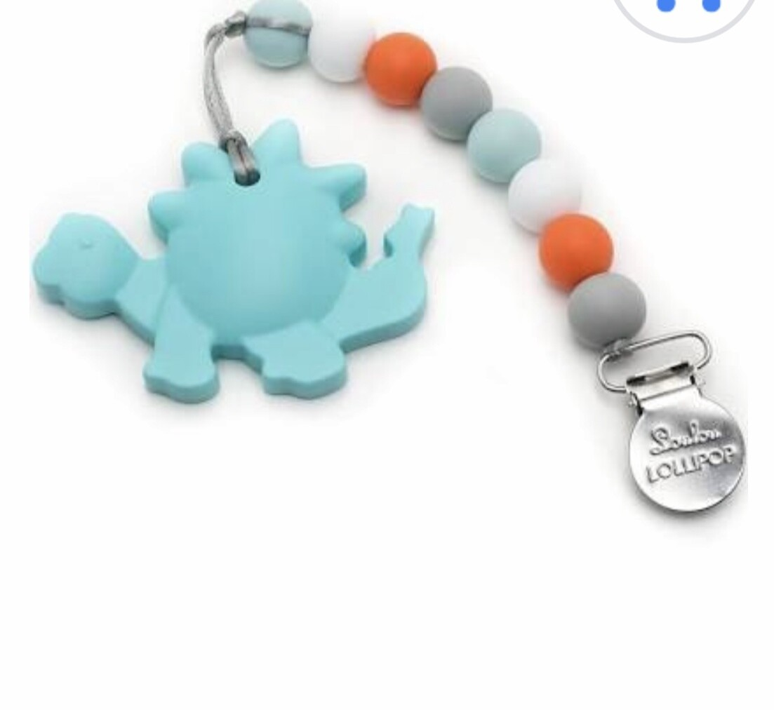 Aqua Dinosaur Silicone Teether Holder Set