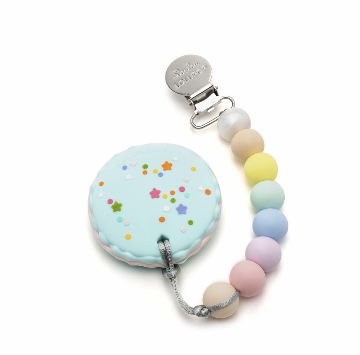 Macaron Silicone Teether Holder Set - Cotton Candy