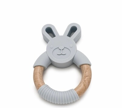 Bunny Silicone & Wood Teether - Light Gray