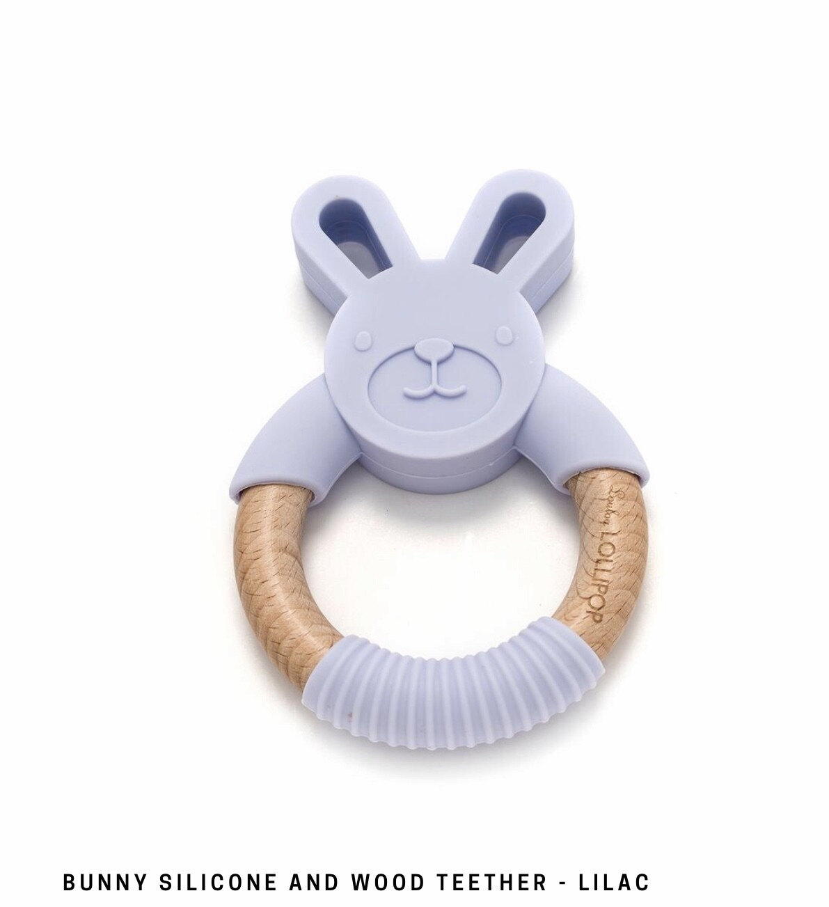 Bunny Silicone & Wood Teether - Lilac