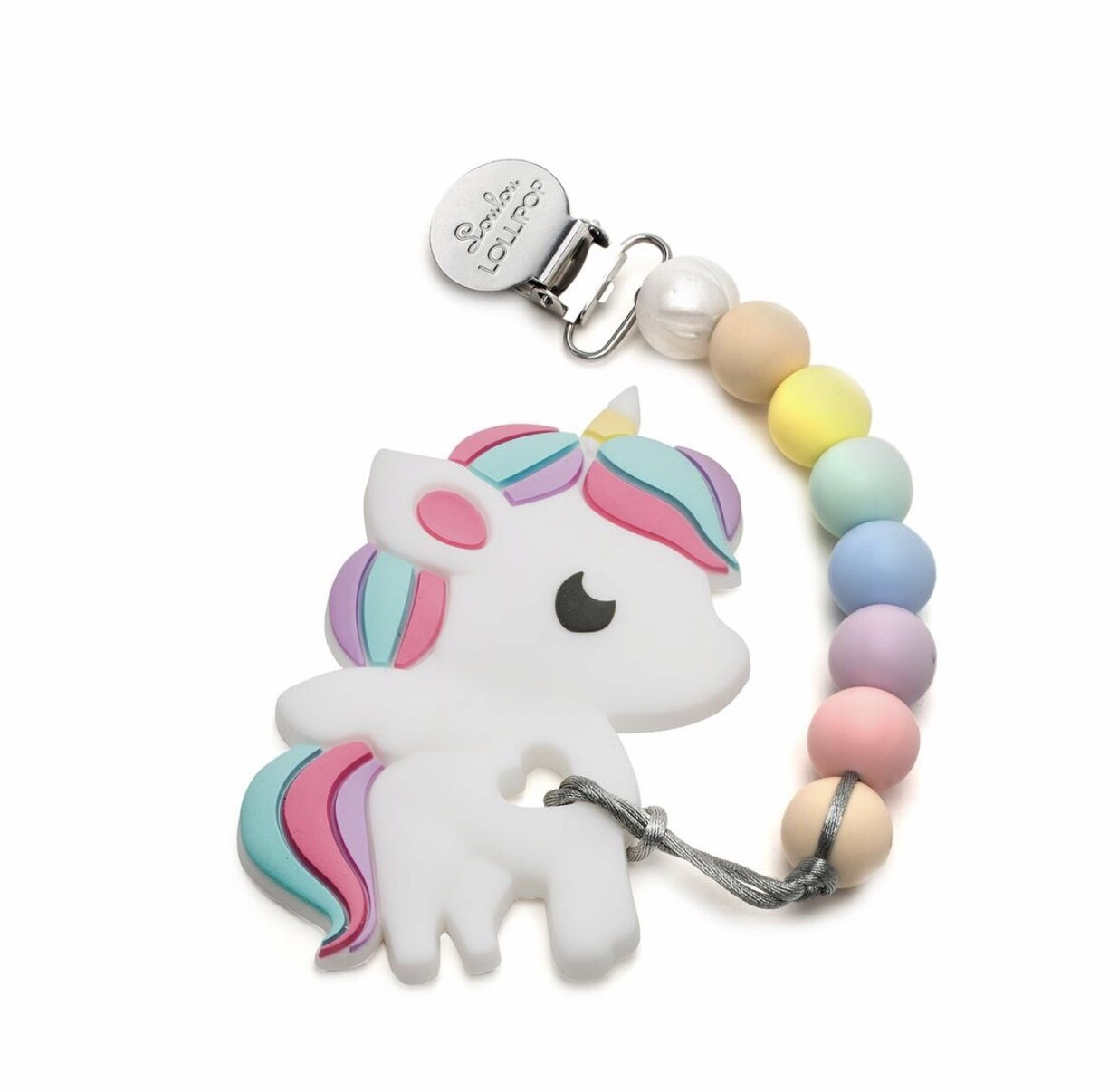 Unicorn Silicone Teether Holder Set - Cotton Candy