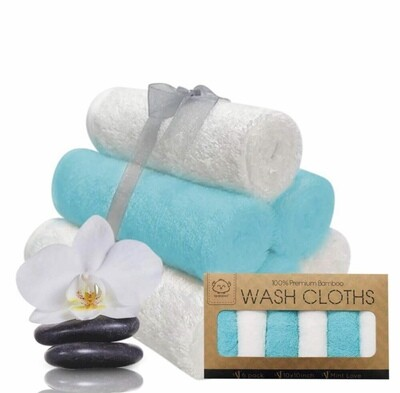 Wash Cloths Mint Love, Organic Bamboo