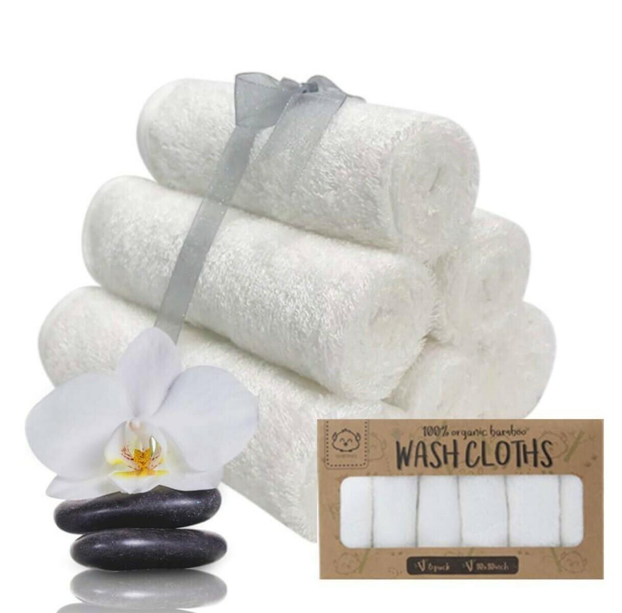 Wash Cloths White, Organic Bamboo