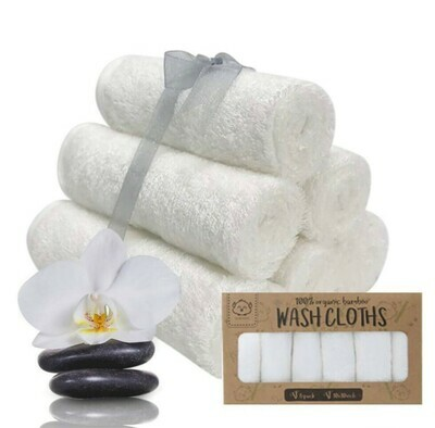 Wash Cloths White, Organic Bamboo