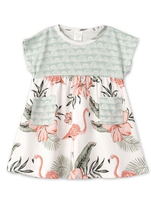 Flamingo Toddler Dress 3T  w/ Headband