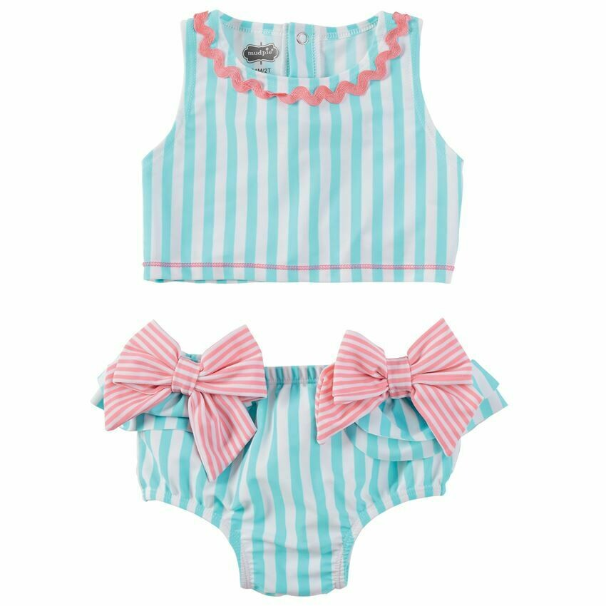 Aqua Stripe Bow 2 pc swimsuit 24 mos. - 2T
