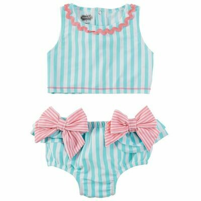 Aqua Stripe Bow 2 pc swimsuit 24 mos. - 2T