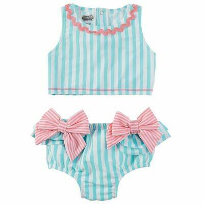 Aqua Stripe Bow 2 pc swimsuit 12-18 mos.