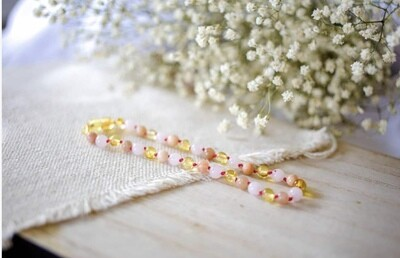Rose Quartz, Sunstone & Polished Lemon Amber Necklace 11 inch