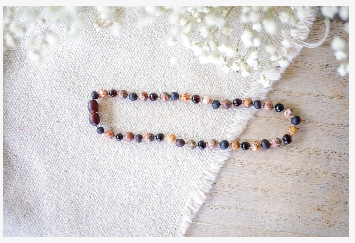 Leopard-Skin Jasper + Raw and Polished Cherry Amber Necklace 11 inch