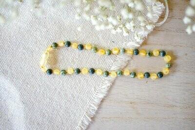 Green Lace Agate + Raw Lemon Baltic 12.5 inch