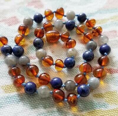 Labradorite Lapis Lazuli Polished Baltic Amber 11 Inch