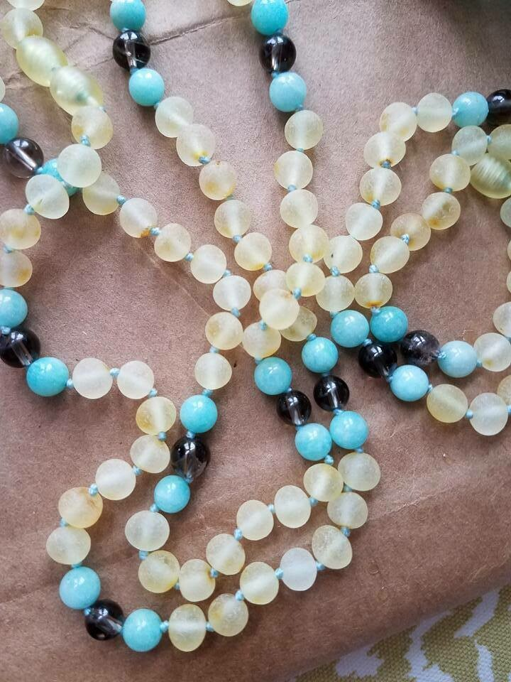 Amazonite and Smoky Quartz - Raw Lemon Baltic 12.5 inch
