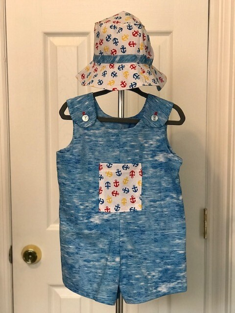 Blue Anchors Romper Shorts w/ Hat 9-12 mos.