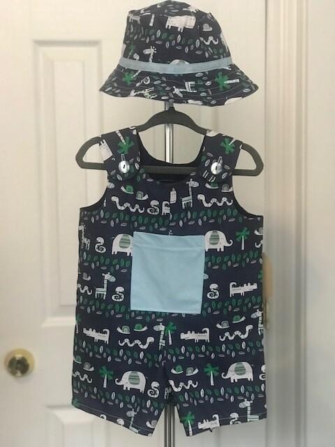 Navy Blue w/ Animals Romper Shorts w/ Hat 9-12 mos.