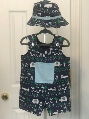 Navy Blue w/ Animals Romper Shorts w/ Hat 9-12 mos.