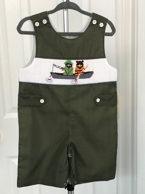 Fishing Bears Embroidered Shortall 12 month