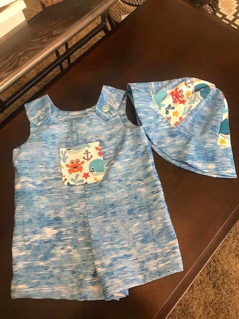 Sea Life Blue Romper Shorts w/ Hat 3-6 mos.