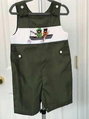 Fishing Bears Embroidered Shortall loop strap 12 month