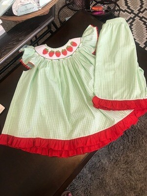 Strawberries Embroidered 2 pc set top & pants 2T
