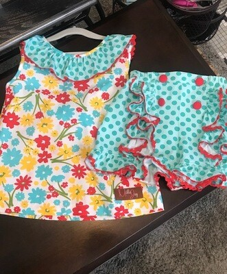 Daisies Bow 2 piece short set 3T