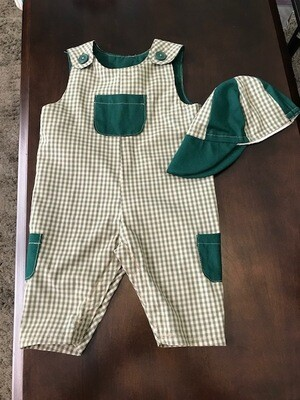 Green Check long Romper w/ Hat 3 months