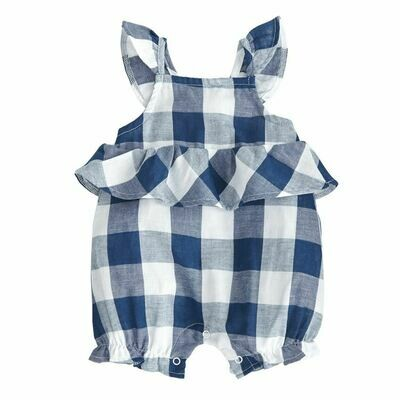 Navy Check Bubble Romper 9-12 months