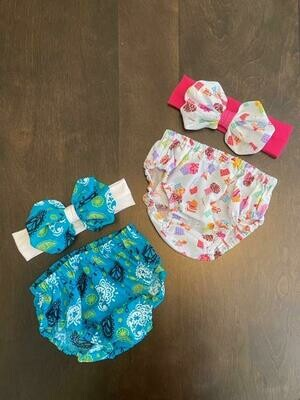 Teal Paisley Bummie & Bow 3-6 month