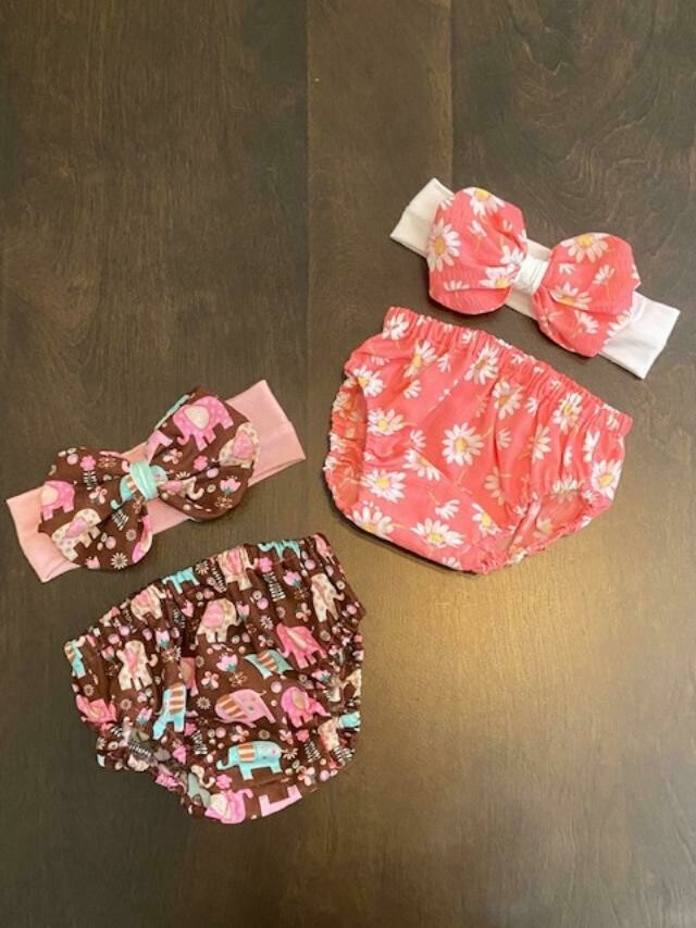 Pink Daisy Bummie & Bow 0-3 month