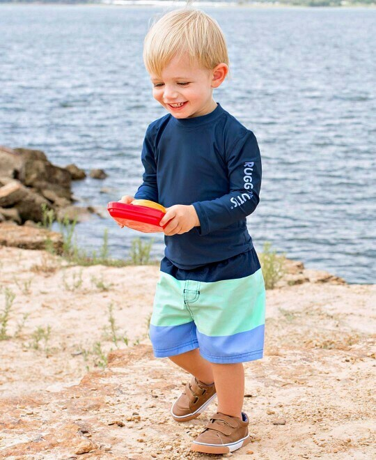 Mint & Blue Color Block Swim Trunks 4T