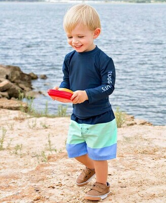 Mint & Blue Color Block Swim Trunks 2T