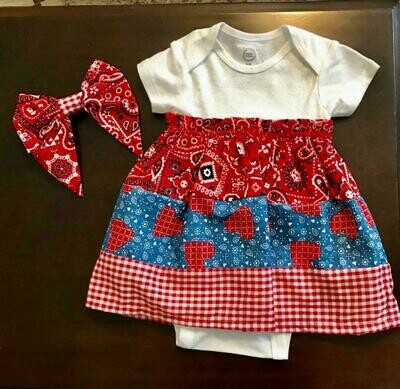 Onesie Dress With Bow 3-6 months