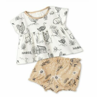 Country Farm Girl's Top & Bloomer Set w/ headband 3T