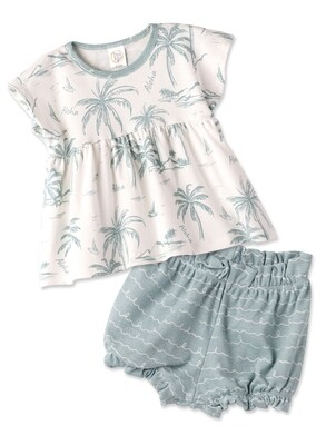 Aloha Girl's Top & Bloomers w/ Headband 4T