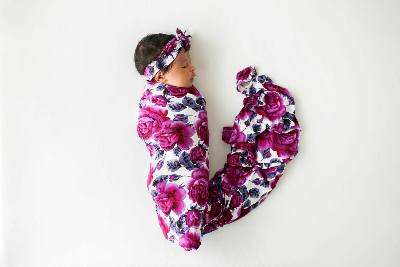 Violet Infant Swaddle & Headwrap Set
