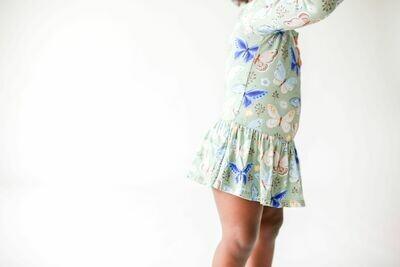 Lucy Lng Slv Henley Twirl Skirt Bodysuit 12-18 months