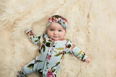 Country Rose Ruffled Snap One Pc. 9-12 mos.