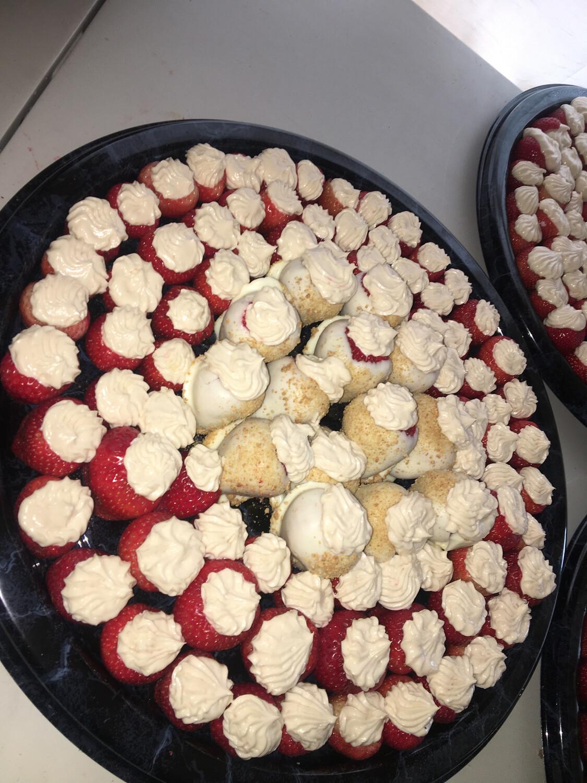 Chocolate Covered Stuffed Cheesecake Strawberry Platter