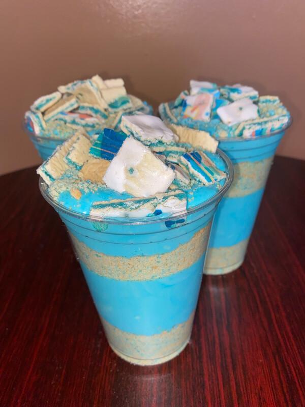 Blue Raspberry Shortcake Cheesecake Cup
