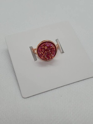 Red/Rose Gold Druzy Ring Adjustable