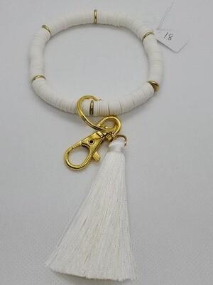 White Heishi Bead Key Fob